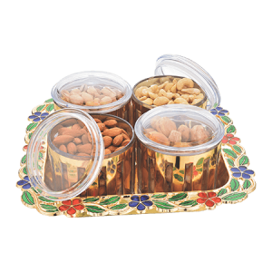 Gold / Silver Jars Sets With Tray